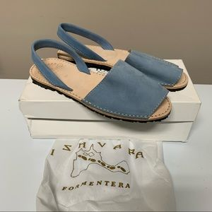 NEW Ishvara Blue Suede Slingback Albarca Sandals